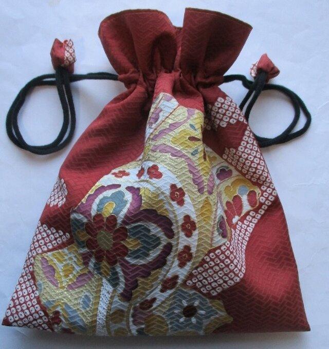 送料無料 花柄の着物で作った巾着袋 3920の画像1枚目