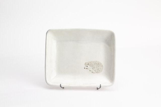 粉引四角皿(ハリネズミ左)の画像1枚目