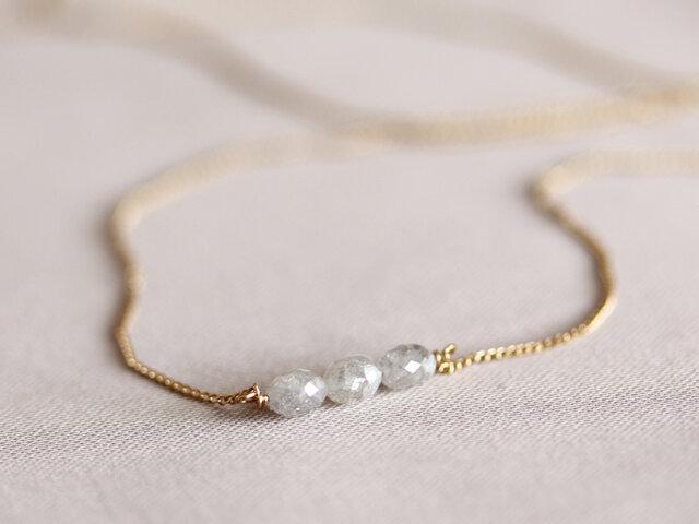 K18 バルーンダイヤモンド・3石ネックレスの画像1枚目