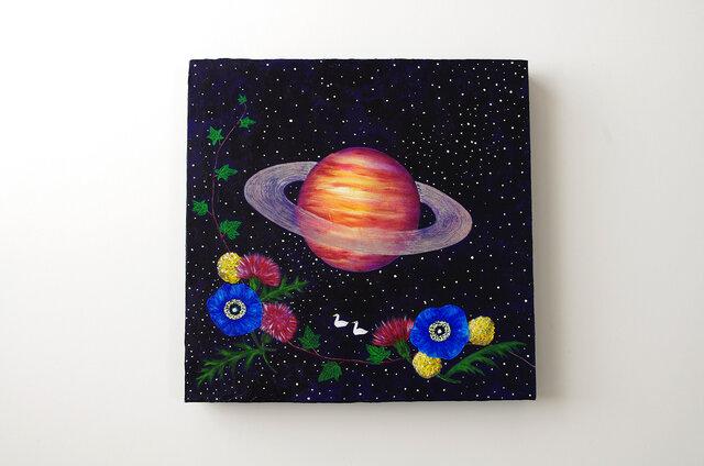 油絵 アートキャンバス「Night Flower」宇宙 土星の画像1枚目
