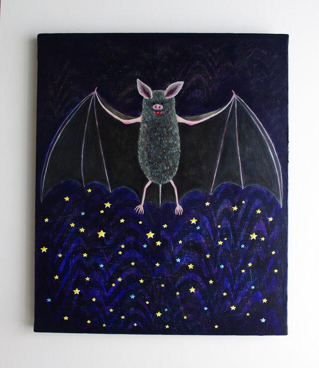 油絵 アートキャンバス「夜を作る」F8 蝙蝠 コウモリの画像1枚目
