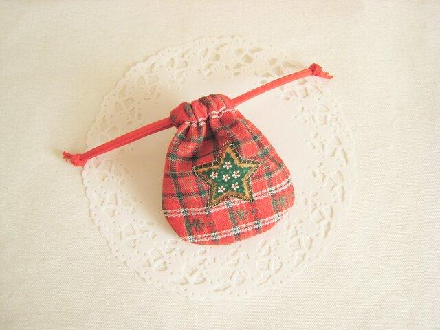 クリスマスの可愛いミニ巾着(赤チェック)の画像1枚目