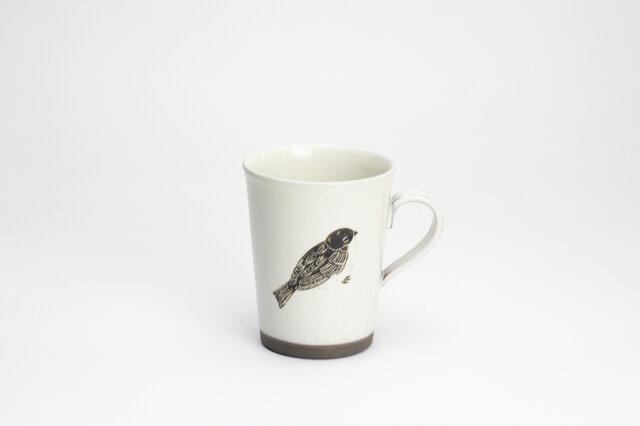 粉引コーヒーカップ -(大)- (ふくらスズメ)の画像1枚目