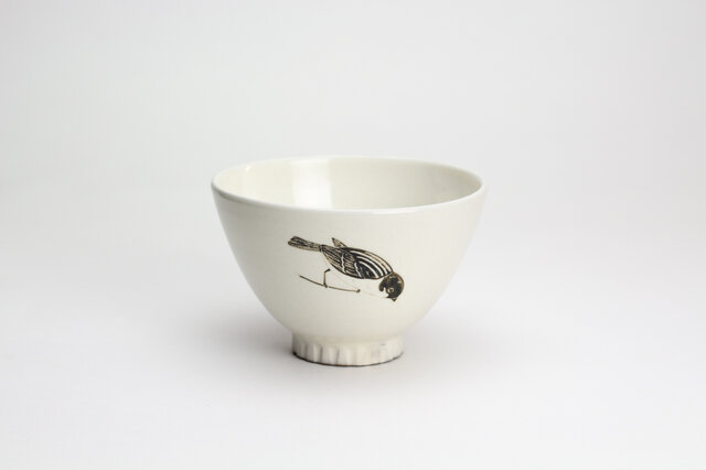 粉引茶碗 -(大)- (掴まりスズメ)の画像1枚目
