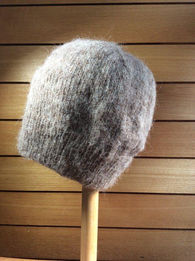 モヘア・ニット帽 ブラウンの画像1枚目