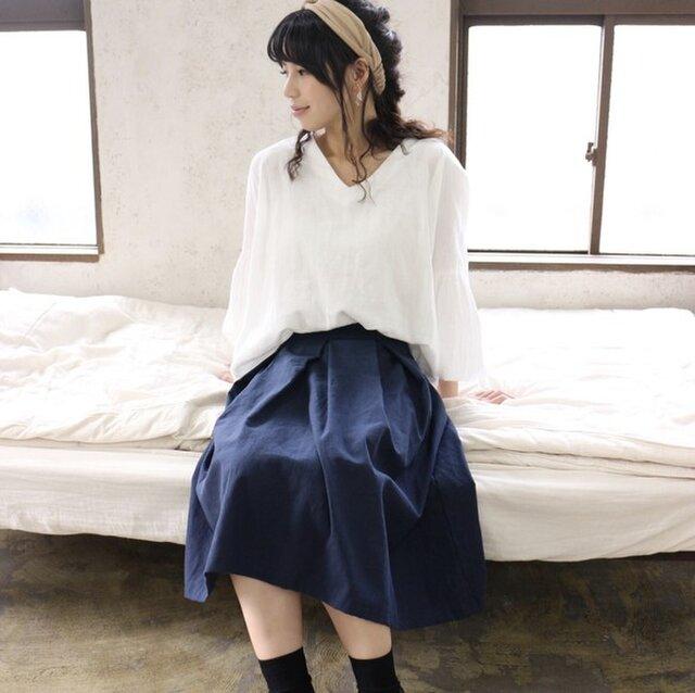 【受注生産】綿麻コットンリネンのサイドファスナータックフレアスカート(ネイビー)の画像1枚目