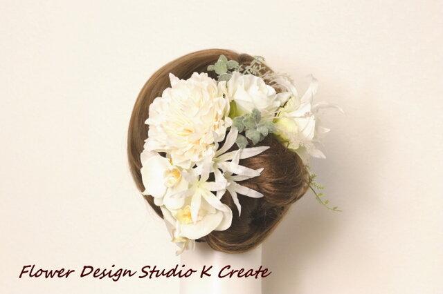 胡蝶蘭とピオニーと薔薇のヘッドドレス  成人式 和装婚 髪飾り 造花 アーティフィシャルフラワーの画像1枚目
