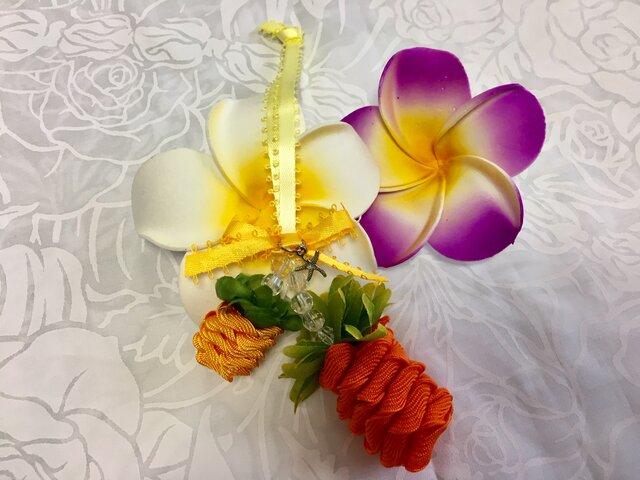 ハワイアンリボンレイ【ダブルパイナップルチャーム オレンジXイエローゴールド】完成品の画像1枚目