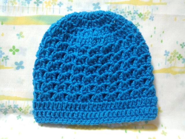 ☆手縫い屋☆ウール100%編み編み帽子☆シェル編み模様☆47㎝~☆青空色☆優しくフィット☆ギフトの画像1枚目