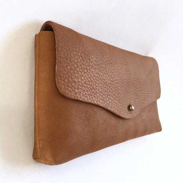 牛シュリンクレザーと牛床ベロアのシンプル長財布[ブラウン]の画像1枚目