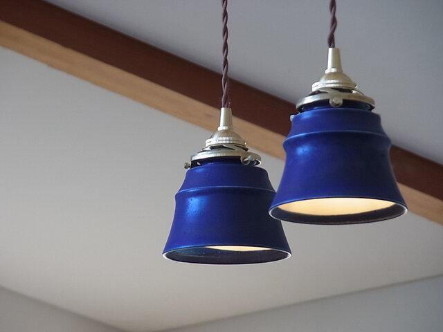 陶制ペンダントランプシェード パウダーBlue(灯具無し)の画像1枚目