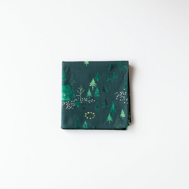 ハンカチ・おもいでの森 / グリーンの画像1枚目