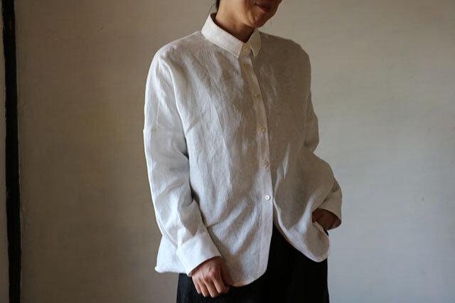 リネンドロップシャツ:白の画像1枚目