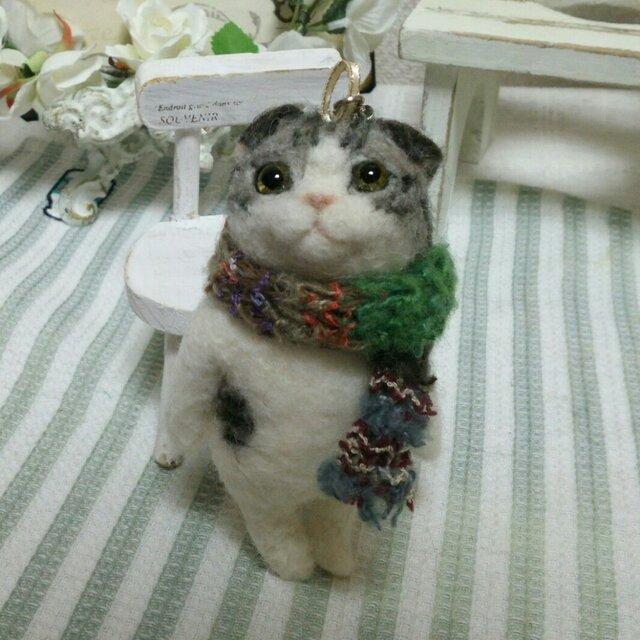 羊毛立ち猫 スコティッシュ オーナメントの画像1枚目