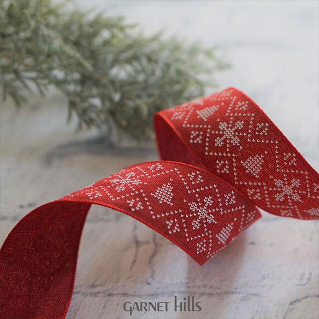 ノルディック柄のリボン|レッド ワイヤー入り 44mm幅 クリスマスの画像1枚目