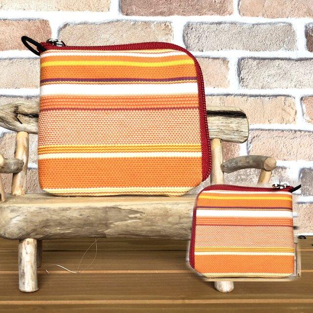 新案設計・倉敷帆布の薄い財布 オレンジ系生地 赤ファスナーの画像1枚目