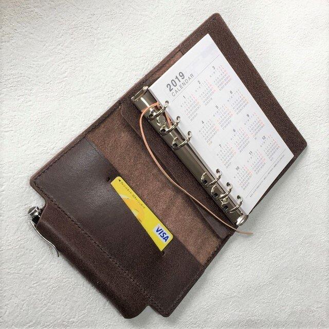 バイブル 筒状ペンホルダーのシステム手帳 ヌメ床革 焦げ茶 レザー 手帳 ノートの画像1枚目