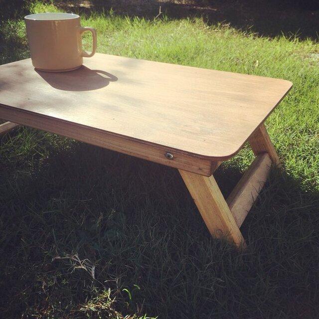 折りたたみミニテーブルBrown アウトドア キャンプ フォールディングテーブルの画像1枚目
