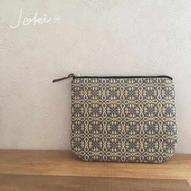 pouch[手織り小さめポーチ]グレー×ブラックファスナーの画像1枚目