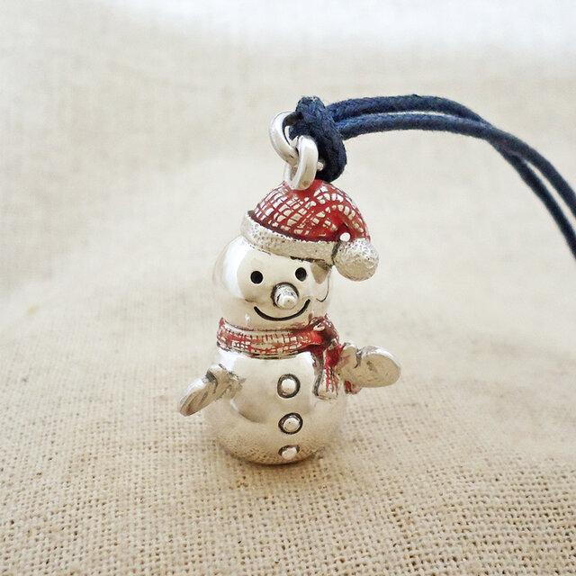 銀製の鈴『雪だるま』(シルバー925+レジン)の画像1枚目