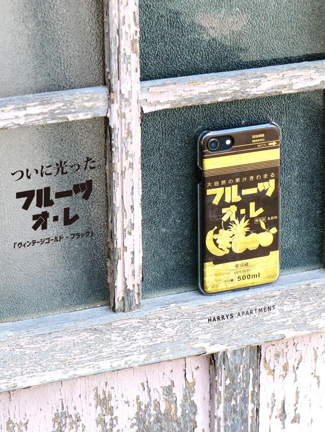 iphone XS ケース フルーツオレ ヴィンテージ ゴールド ブラック スマホケース HARRYS APARTMENTの画像1枚目
