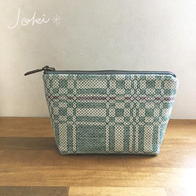 pouch[手織りポーチ]  エメラルドの画像1枚目