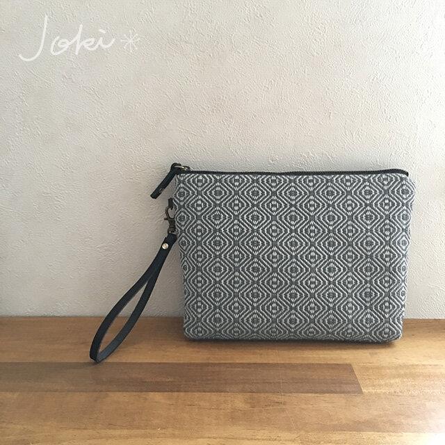 pouch[手織りポーチ] ネイビーベルト付きの画像1枚目
