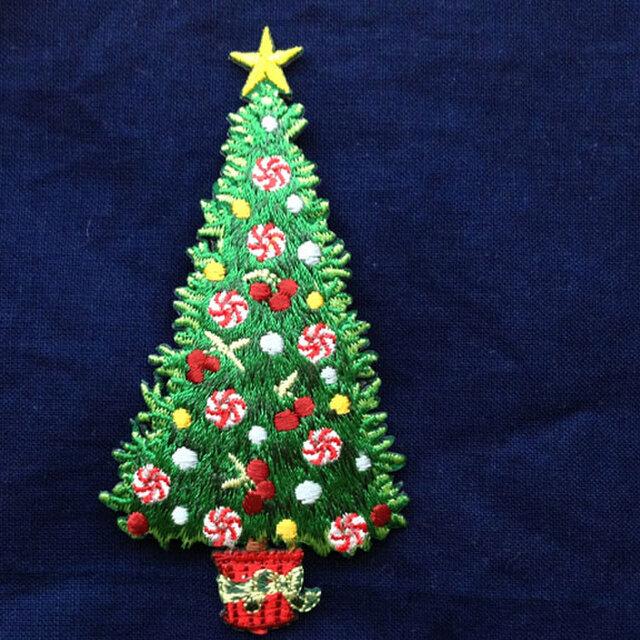 アップリケワッペン クリスマス ツリーL  W-0352の画像1枚目