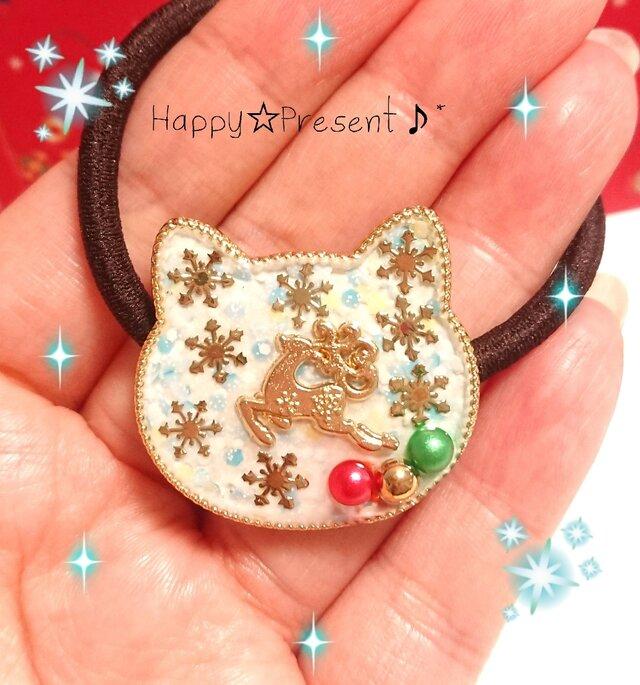 猫の大人可愛いトナカイの雪降る❄️ホワイトXmasヘアゴム❤️✨ 送料無料 雪の結晶 冬 限定 女子力 大人女子 プレゼントの画像1枚目