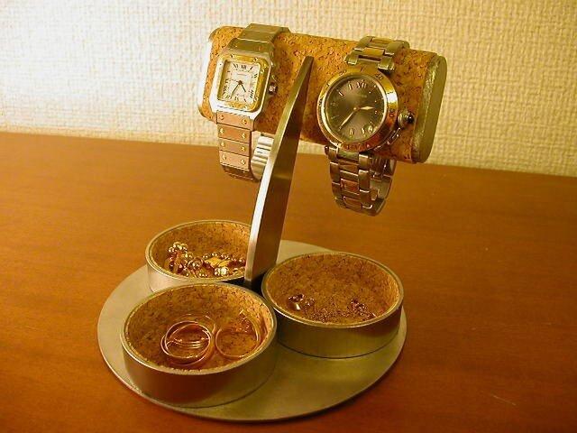 ハンドメイド だ円パイプ2本掛け三つの丸い小物入れ付き腕時計スタンドの画像1枚目