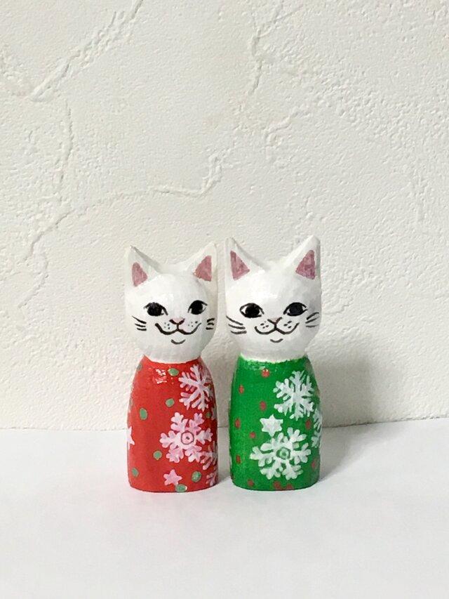 木彫りの猫 Xmasセットの画像1枚目