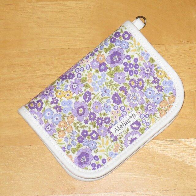 【再販】二つ折り財布★小花柄(パープル)の画像1枚目