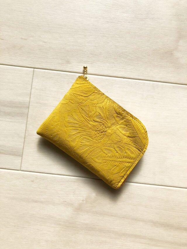 人気ナンバー1財布 シン L字財布 カードケース 本革 ボタニカル イエローの画像1枚目
