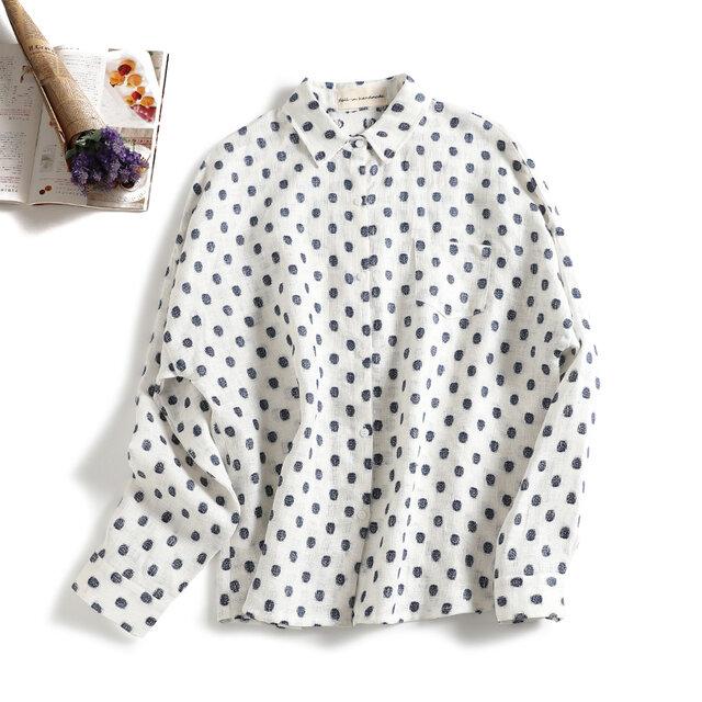 さまざまのコーデに実力を発揮するドットシャツ 麻100% 長袖シャツ1125-1の画像1枚目