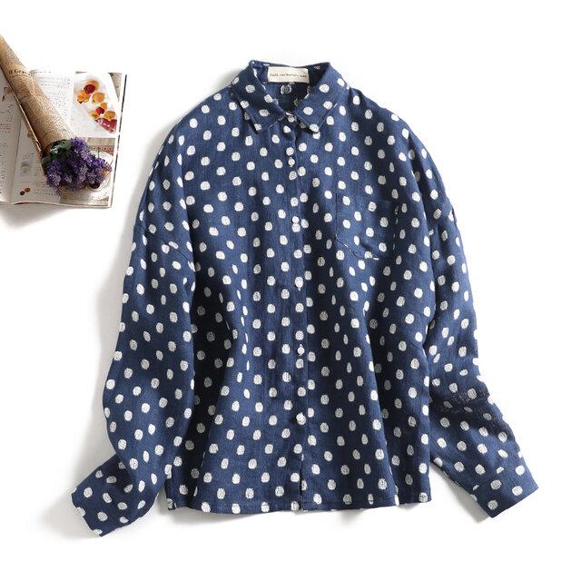 さまざまのコーデに実力を発揮するドットシャツ 麻100% 長袖シャツ1125-2の画像1枚目
