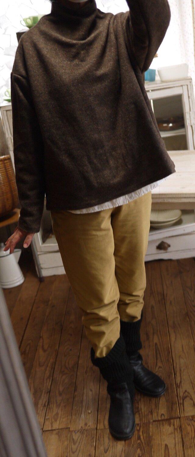 ウール混紡ミックス起毛ボトルネックトップスの画像1枚目