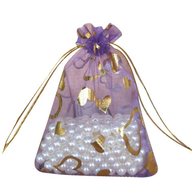 10枚入り オーガンジー巾着袋 ハート 【バイオレット 紫 パープル】 アクセサリーバック ラッピング プレゼントの画像1枚目