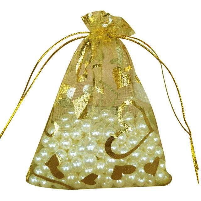 10枚入り オーガンジー巾着袋 ハート 【ゴールド 金 イエロー 黄色】 アクセサリーバック ラッピング プレゼントの画像1枚目