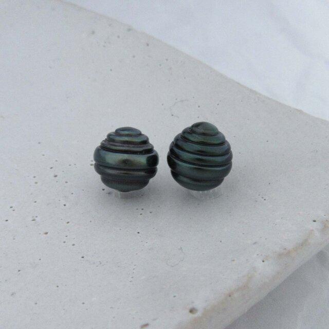 9mm♪ピアスに☆ 黒蝶真珠バロック 無穴ルース2Pセット 09-49B2の画像1枚目