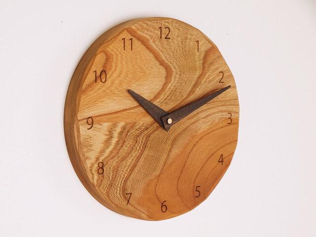 木製 掛け時計 丸 ケヤキ材41の画像1枚目