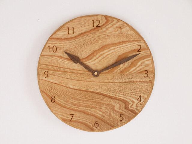 木製 掛け時計 丸 ケヤキ材42の画像1枚目