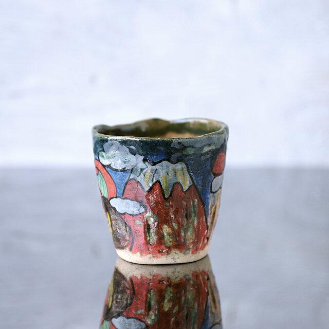 手捻り・赤富士と波模様のカップの画像1枚目