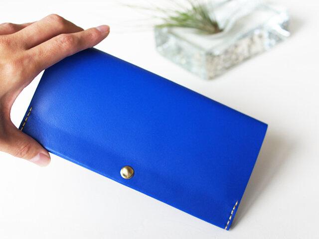 スマート長財布 ラピスラズリブルー(イタリア牛革・メンテナンスフリー) 自然とお財布美人になれる薄い長財布!の画像1枚目