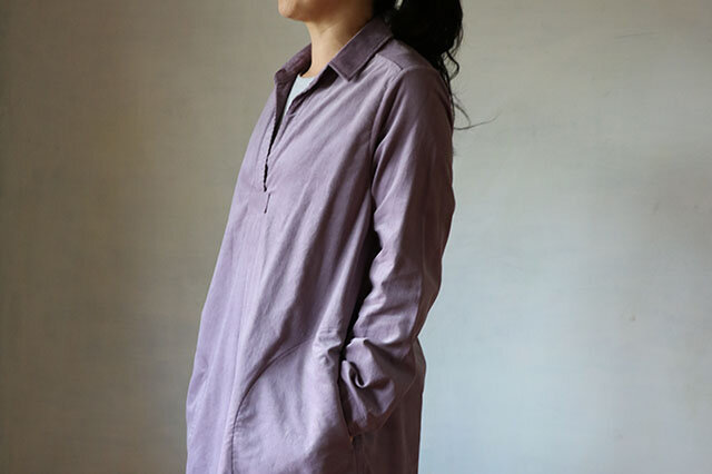 フロントタックワンピース:コーデュロイ紫の画像1枚目