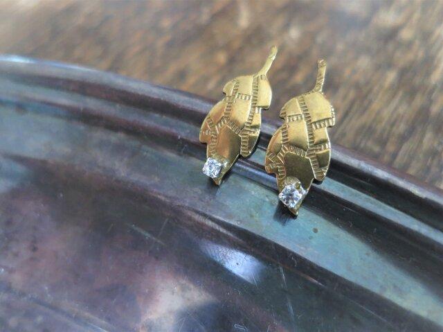 アンティーク タイニーリーフピアス クリア pierced earrings leaf <PE-LF1>の画像1枚目
