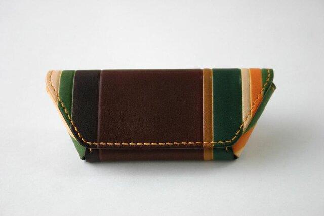手染め手縫い革のコインケース マルチカラー茶の画像1枚目