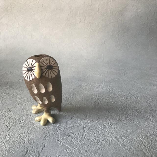 四角ふくろう/白(花器)の画像1枚目