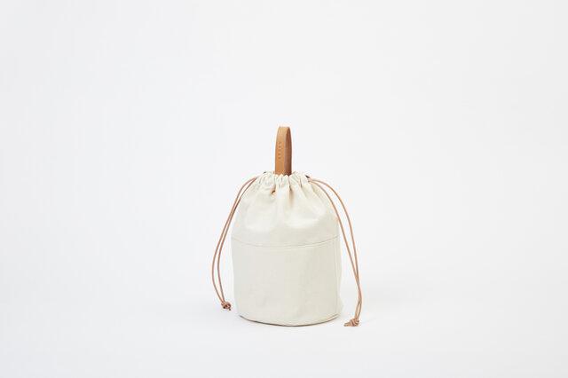キャンバス ショルダーバッグ ナチュラル | レディース メンズ 白 トートバッグ 巾着 プレゼントの画像1枚目