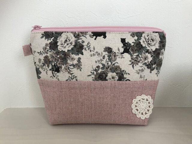 花柄ブーケと猫のポーチ*ピンクの画像1枚目