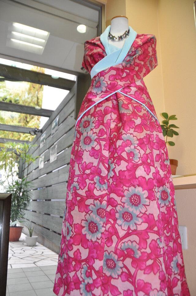 歴女の銘仙 お花着物リメイクスカートとショールベスト送料無料の画像1枚目